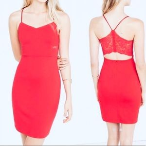 Express Red Dress with Lace Accents